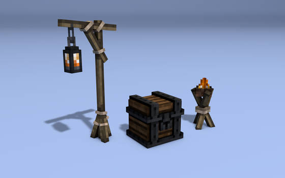 Light sources and chest  - Pirate Adventures