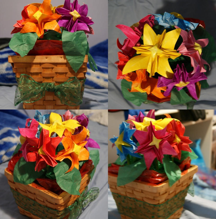 Origami Flower Basket By Xadrii On Deviantart