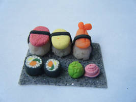 Miniature Clay Sushi by funkypinkgal