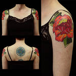 Double Peony on Arms