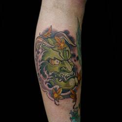 Hanya Mask Japanese Maple Leaves Tattoo