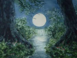 Moonlit Stream. by SueMArt