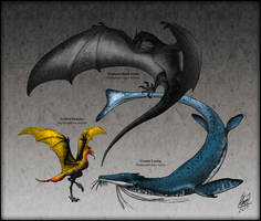 Dracomorpha : The Reptiles of Fire, Sea and Sky by TheJuras