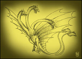 Speed Sketch: King Ghidorah [Contest Reward] by TheJuras