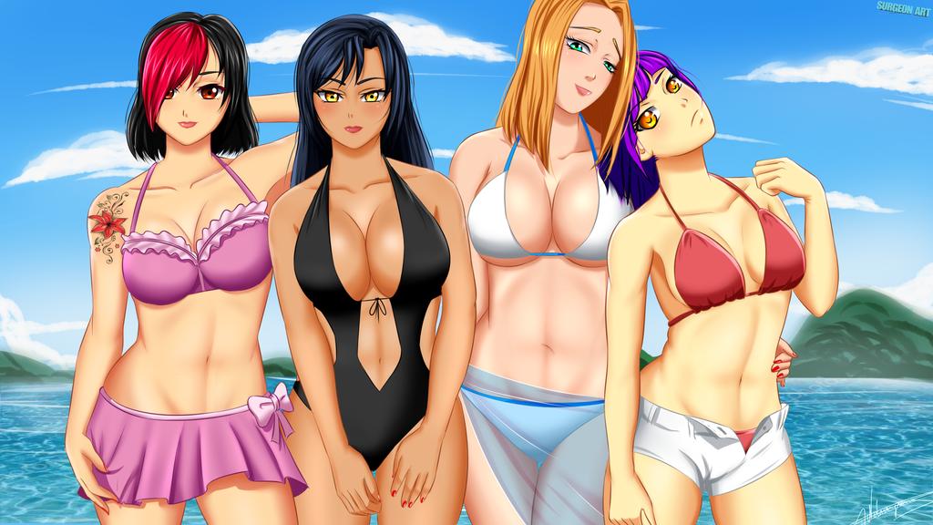 Sarah, Mei, Ayako and Hana at the beach by Surgeon-Art