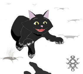 Black Cat Jumping in White Snow