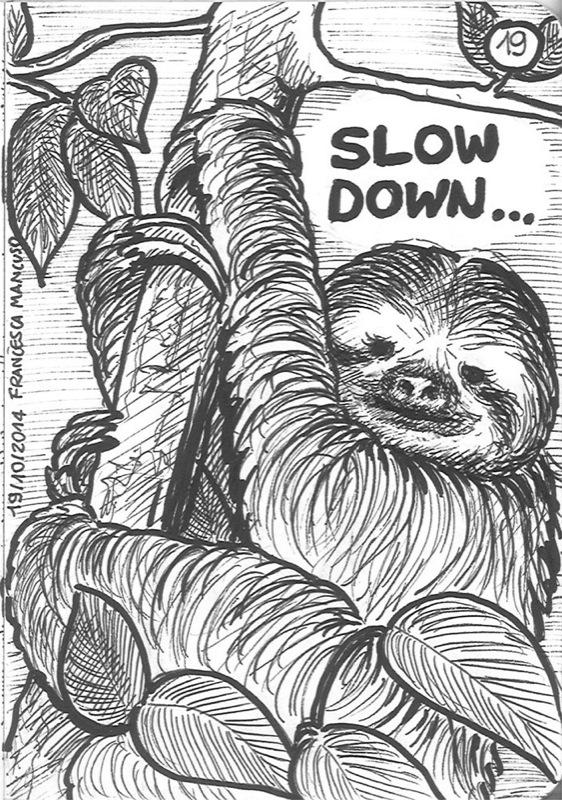 Inktober day 19: The zen sloth by dreamsaddict