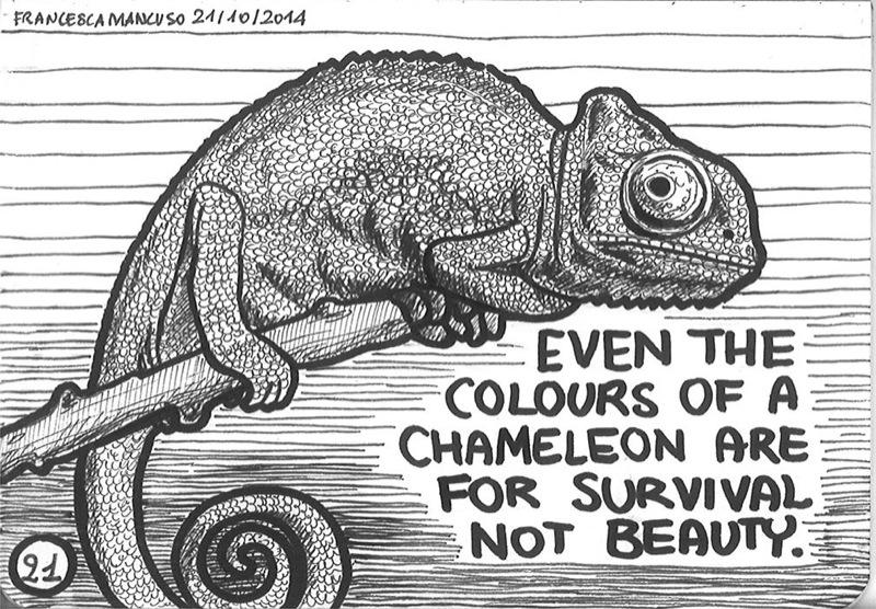 Inktober day 21: The inspiring chameleon by dreamsaddict