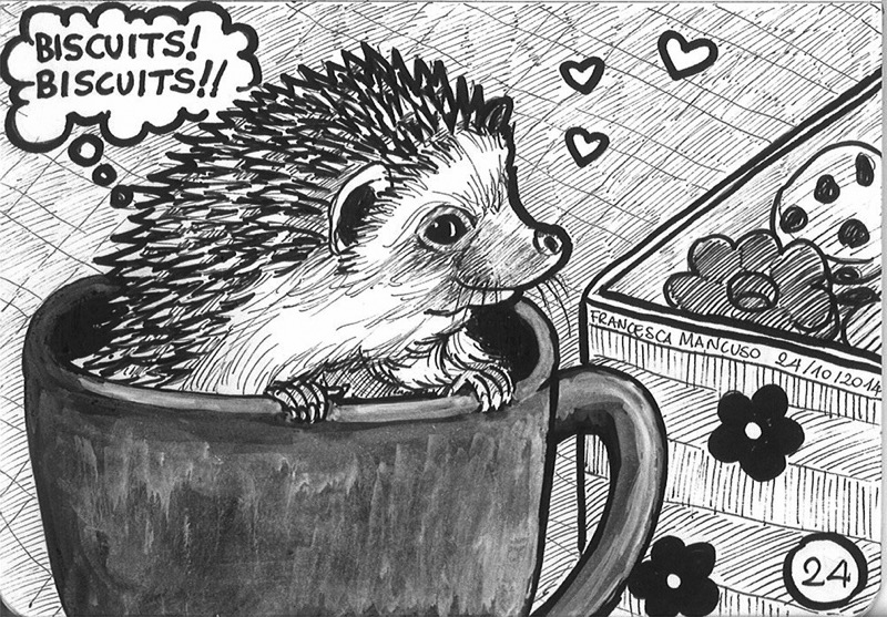 Inktober day 24: The gluttonous hedgehog by dreamsaddict