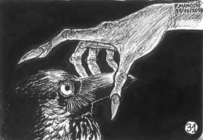 Inktober day 31: The petrified raven...