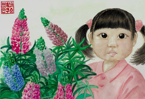 Girl and lupins