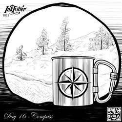Inktober 2021 - Mugs and Cups - Day 16 - Compass
