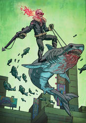 Ghost Rider riding a shark by korintic