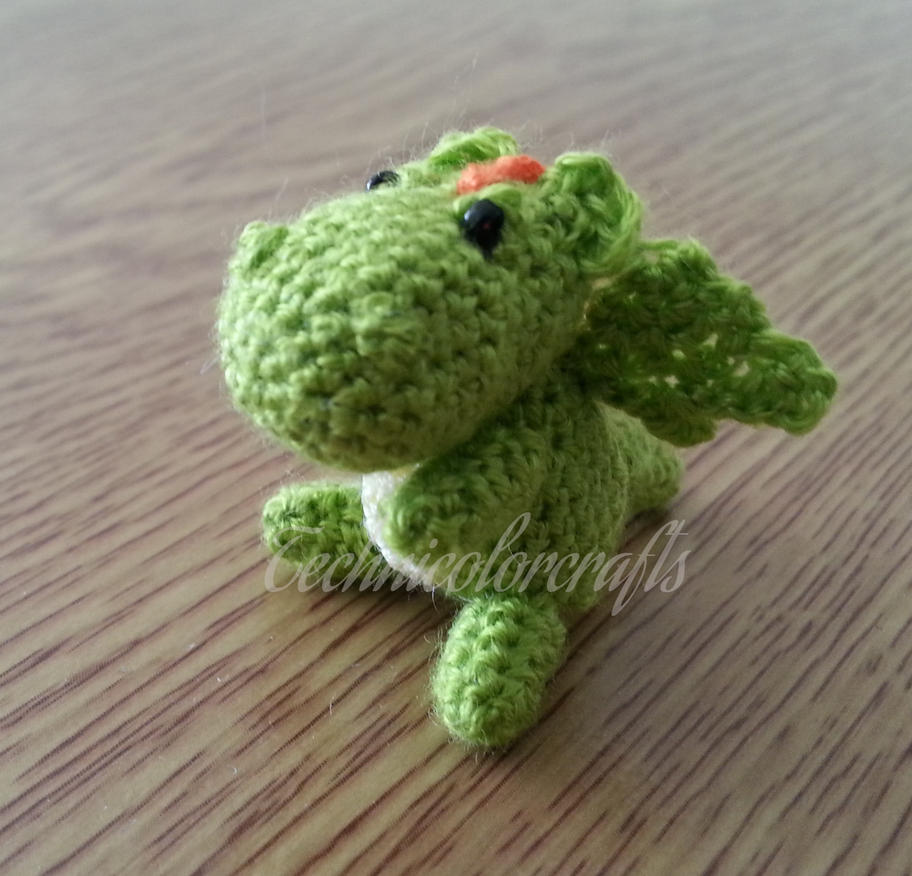 Mini Crocheted Dragon Keyring by technicolorcrafts
