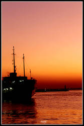 Ship, Sunset and Istanbul