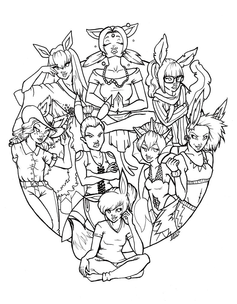 eeveelutions remastered line art by raindropsweet on deviantart