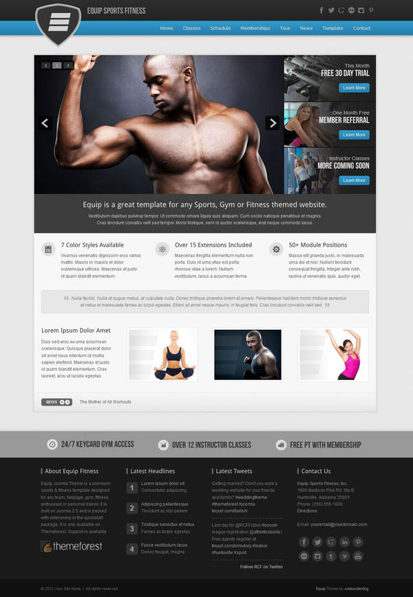 Equip Sports Fitness Template Joomla by webunderdog