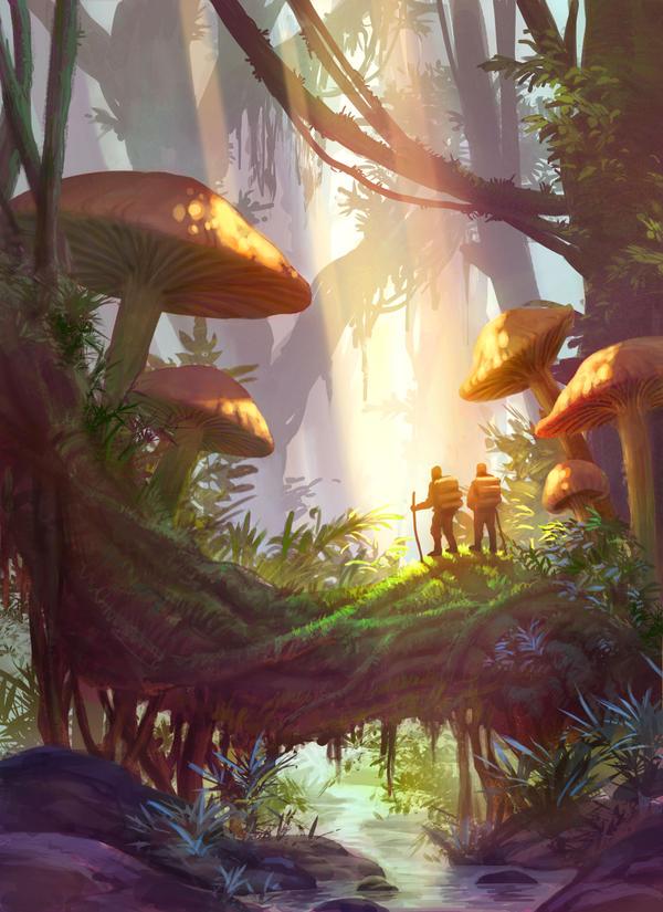 Mushroom land. (Bosque) ____by_eriopsis-d7gicsg