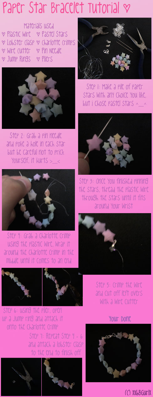 Paper Star Bracelet Tutorial by xXbBGurlx