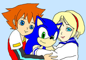 Chris and Sherry Hugging Sonic