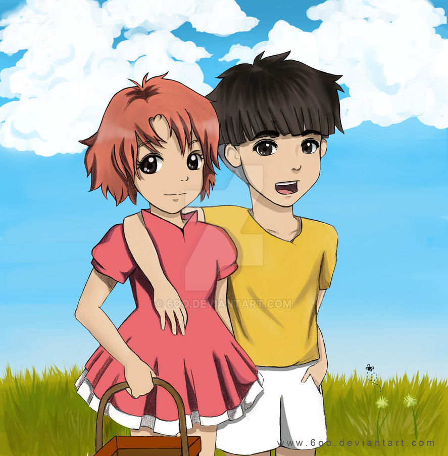 Ponyo and Sosuke: by 6oo on DeviantArt