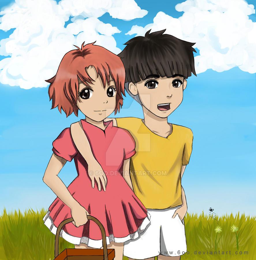 Ponyo and Sosuke: by 6oo on DeviantArt