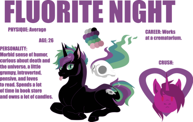 Fluorite Night- Character Sheet (2018) by elusiveCONQUEROR