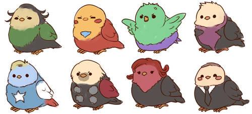 birdvengers by raspbearyart
