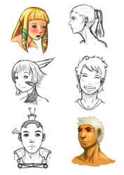 head sketches by ciliath