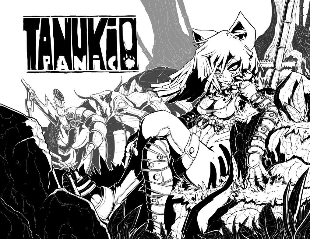 BLACKSTRIPE: Tanuki Panic -cover- Inks by endshark