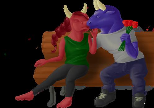 A cow kissing a bull