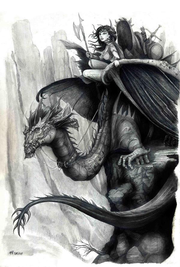 Jinete dragon by Ilustralia