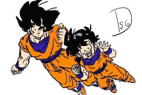 Goku and Gohan by unnamedsoldier