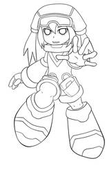 Pink Call Mighty No. 9 -lineart
