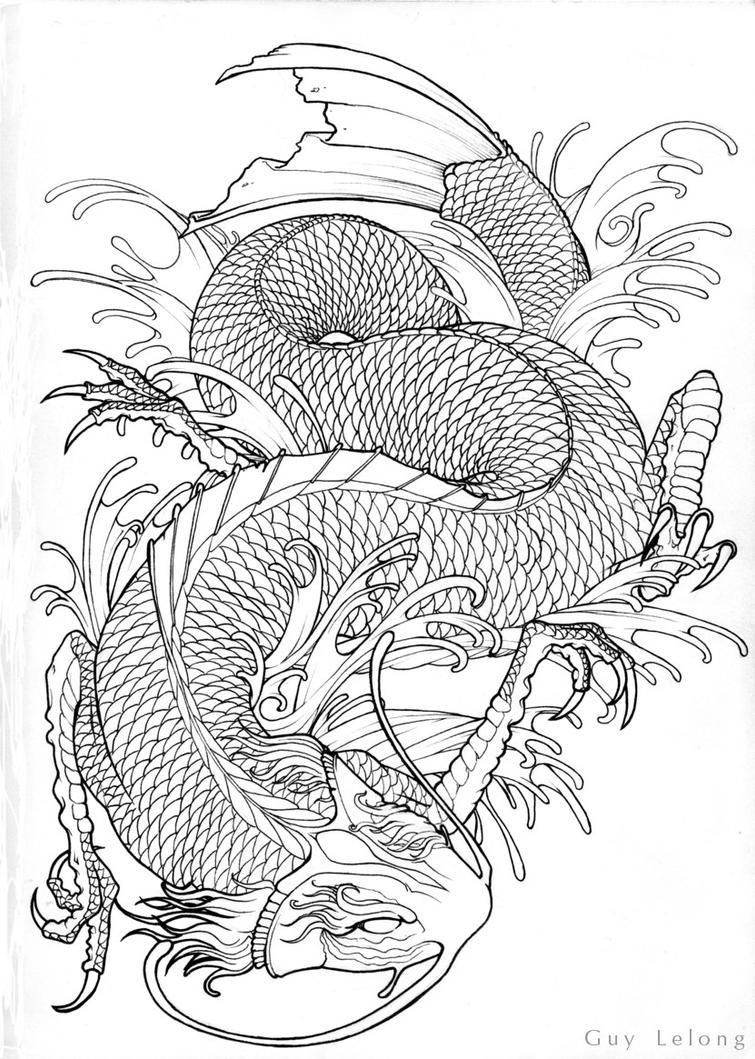 Line Drawing Dragon Tattoo : Koi dragon line art by guylel on deviantart