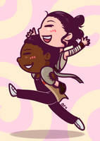 Star Wars - Chibi Rey and Finn by Cargoleta