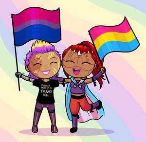 Chibi commission - Meredith and Thivel go to Pride