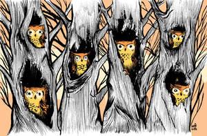 Six Owls by stikmancomics