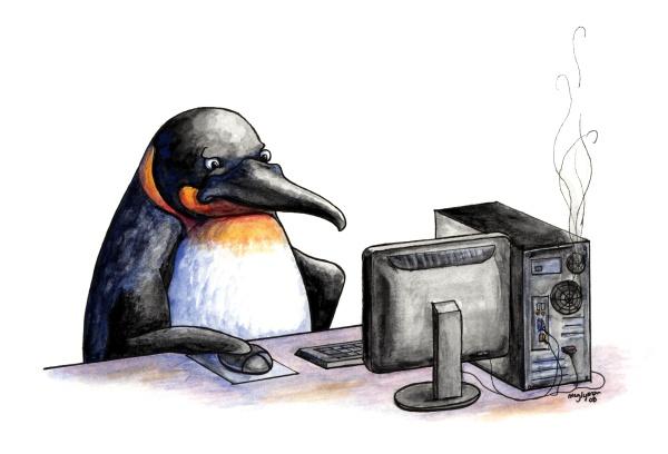 Computer Penguin by MegLyman