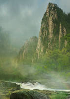 STOCK : MOUNTAIN RIVER MISTS : PREMADE BACKGROUND by thehouseofphotoshop