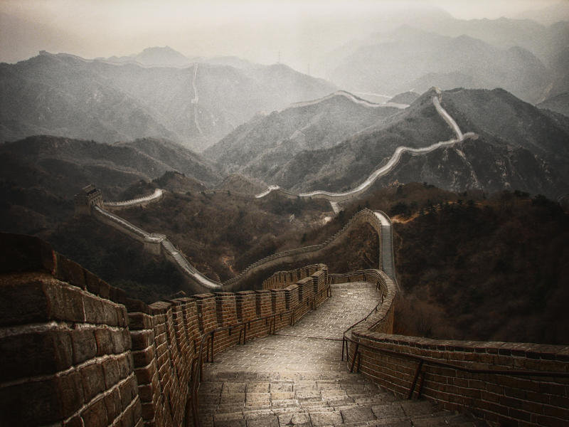 STOCK : GREAT WALL OF CHINA : PREMADE BACKGROUND by thehouseofphotoshop