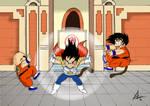 Dragon Ball Kid Vegeta vs kid Goku and Kid Krillin