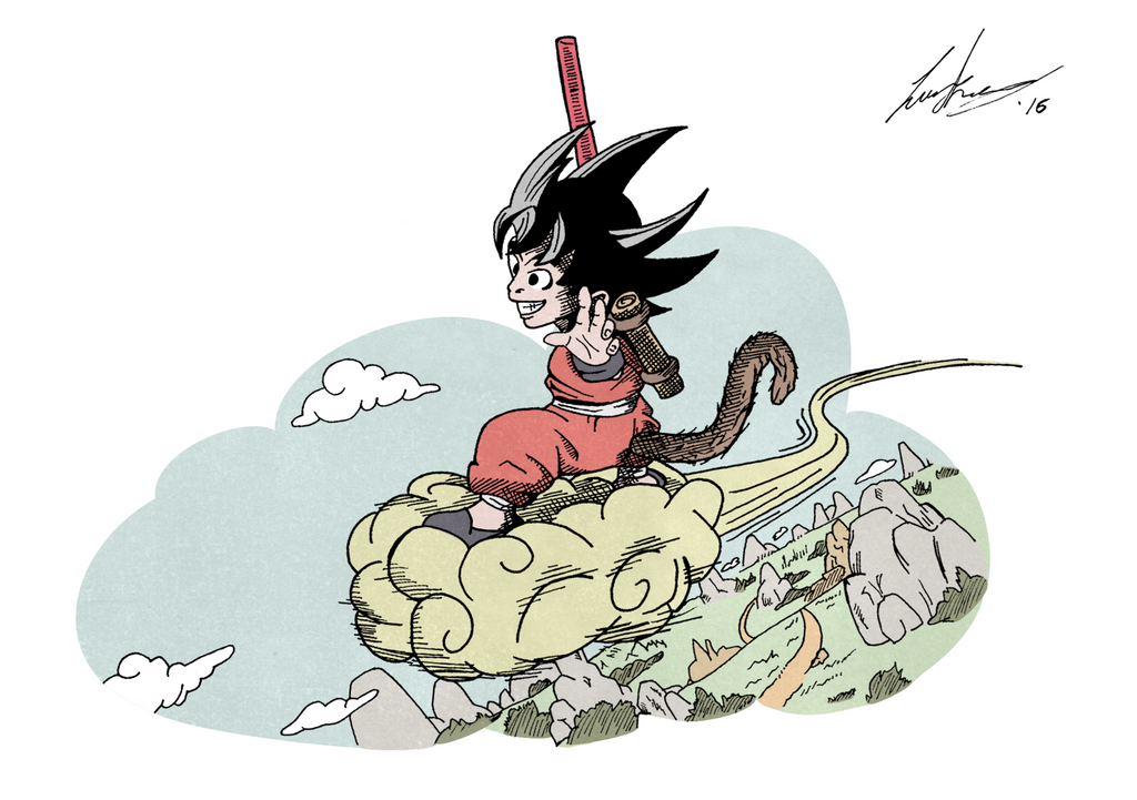 It's just an image of Candid Goku On Nimbus Drawing