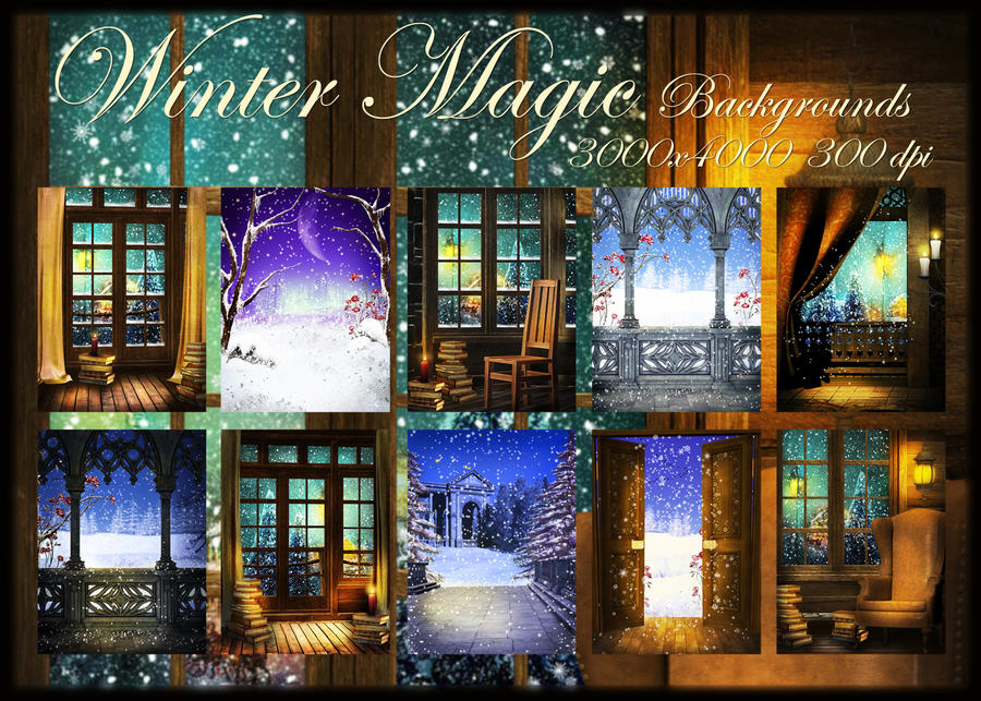 Winter Magic backgrounds by KlaraKay