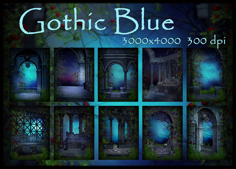 Gothic Blue, backgrounds by KlaraKay
