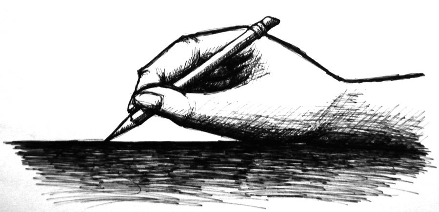 Drawing of a hand holding a pencil by andrealantosx3