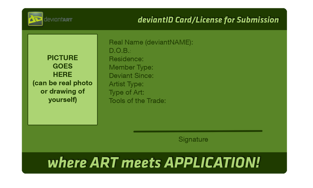 DeviantART ID Card (Original Blank Version) By FirePhantasma ...  Membership Id Card Template
