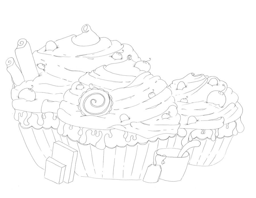 Triple Cake Line Art by Leahzebelle on deviantART
