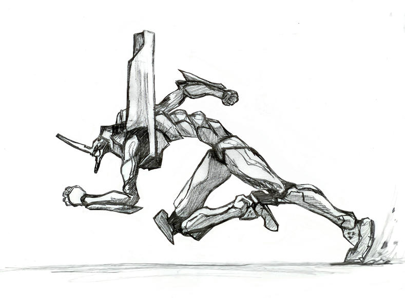 Evangelion Unit 01 sprinting by war-machine