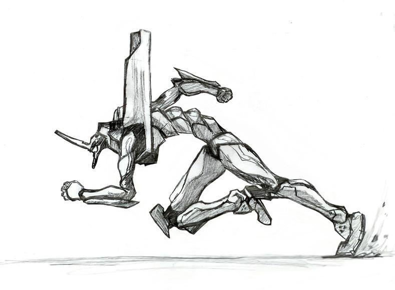 Evangelion Unit 01 sprinting by war-machine